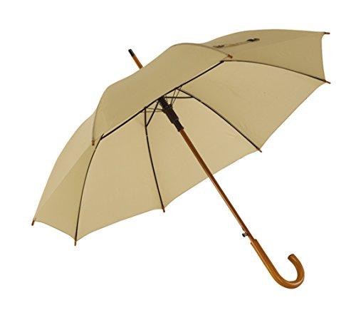 Preiswert&Gut Holzstockschirm Beige Regenschirm Durchmesser 103cm Stockschirm geeignet als Damenschirm oder Herrenschirm
