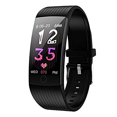 GOKOO Fitness Tracker HR Activity Tracker Watch with Heart Rate Monitor Blood Pressure Sleep Monitor Waterproof Smart Fitness with Step Calorie Counter Pedometer Watch for Men Women Kids (Black)