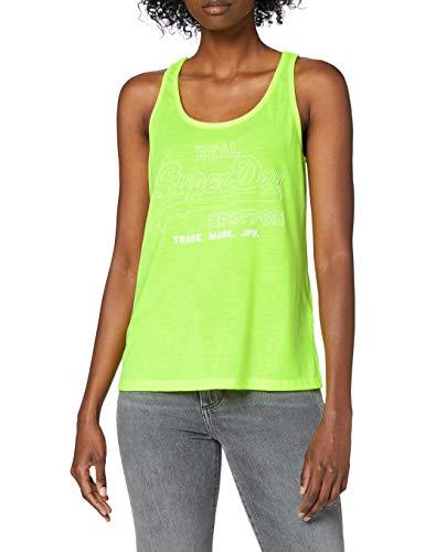 Superdry VL Outline Pop Entry Vest Camiseta sin Mangas, Amarillo (Neon Yellow 24k), M (Talla del Fabricante:12) para Mujer