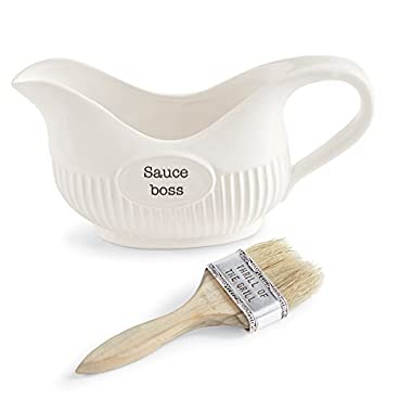 Mud Pie Barbecue Sauce BBQ Basting Set, White