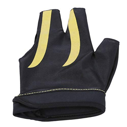 Eleusine 3-Finger Billard Handschuhe Snooker Shooters Linke Hand Snooker Queue Billard Zubehör (Gelb)