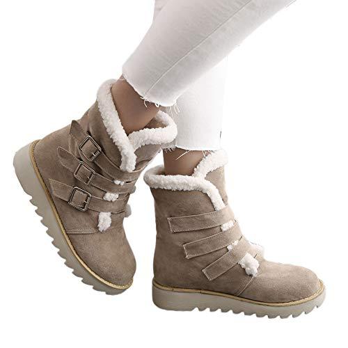 Botas de Nieve bajo caña Terciopelo Mujer Invierno PAOLIAN Botas Plataforma Altas Forradas Lana Botines Calentar Hebilla Zapatos Algodón Calientes Señora Zapatillas Aire Libre