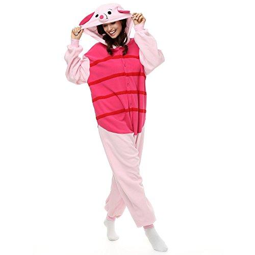 Erwachsene Ferkel Einteiler Polar Fleece Schlafanzüge Cartoon Tier Nachtwäsche Halloween Cosplay Kostüm Unisex, Rot, S (Height 4'10-5'2)