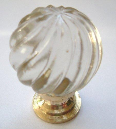 Peter Sharpe Bouton de meuble tourbillon en verre taillé avec base en laiton pour armoire/placard