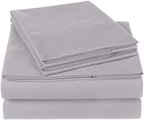Pinzon 300 Thread Count Organic Cotton Bed Sheet Set - Queen, Dove Grey