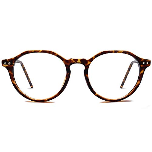 SOJOS Runde Brille mit Blaulichtfilter Damen Herren Computerbrille Polygon TR90 MOCHA SJ5093 mit Dunkelbraune Schildkrötenfassung/Anti-Blaulicht Linse