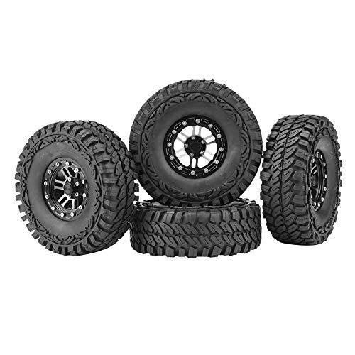 Dilwe 1/10 Reifen, 4 Stück Gummireifen Reifen Metall Naben für 1:10 Fernbedienung Crawler Auto Zubehör Teil