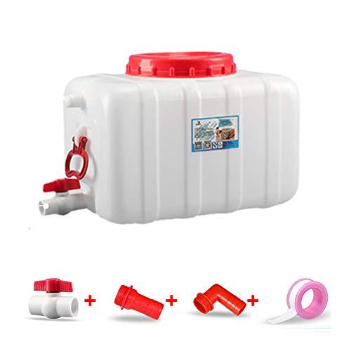 Depósito de agua exterior con grifo, Cubo de plástico blanco de grado alimenticio de riego, Tanque de agua portátil para camping, Barril industrial resistente a ácidos y álcalis ZDDAB