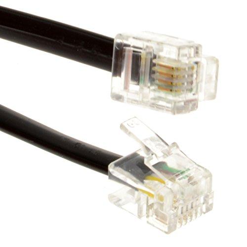 ADSL Breitband Modem Kabel RJ11 Zum RJ11 Telefon Buchse Zum Router Schwarz 1 m [1 Meter/1m]