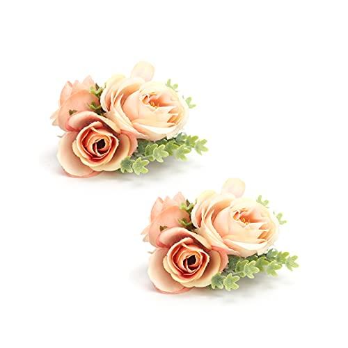 CUTULAMO Flor De Muñeca De Dama De, Flor De Mano De Diseño Puro Y Elegante De Moda 2 Piezas/Bolsa para Boda para Fiesta(Naranja)