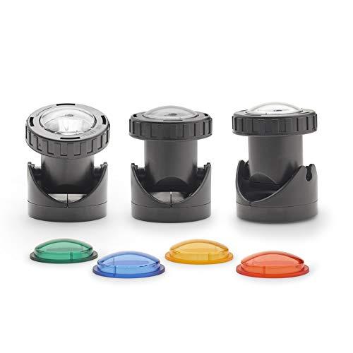 Aquanique Teich und Garten Licht PGL Set 3 LED, Trafo und drei LED-Leuchten mit Farbscheiben