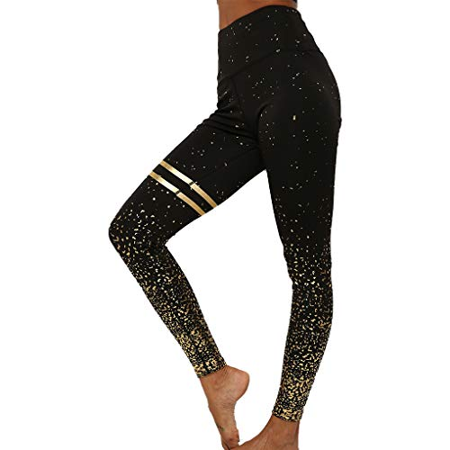 WINTAPE Yoga Hose Damen mit hoher Taille Enge Yoga Hose Workout Leggings (schwarz, L)