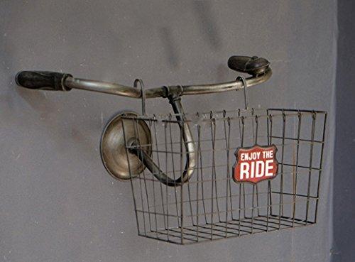 Anquanwang plank fietsmand Rack, Cafe muurschildering plank landelijk retro doen de oude ijzer 53 * 32 * 32cm 0 rack