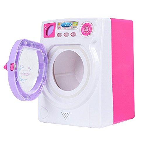 LSERVER Waschmachiene Spielzeug Puppe Zubehör Möbel Kinderwaschmaschine mit Licht Haushaltspielzeug
