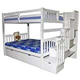 Staircase Full Over Full Bunk Bed with Drawers White