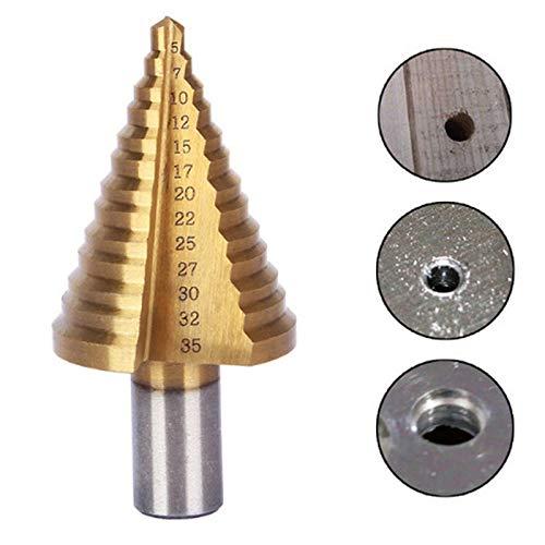 GFHDGTH 13 Step HSS 5-35 mm conusboor, bits gatsnijder bitset geribbelde randen trapboor raspbaan driehoek schacht hout metaal boren