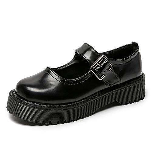 CELNEPHO Mary Jane Zapatos para mujer, plataforma de tacón medio, uniforme gótico Lolita, zapatos planos, negro (1Negro), 39 EU