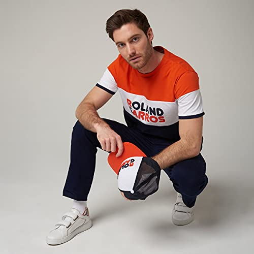 Roland Garros - Shirt de Cuello Redondo, Modelo Naho de algodón, para Hombre, Talla XS, terraza Batida y Azul Marino