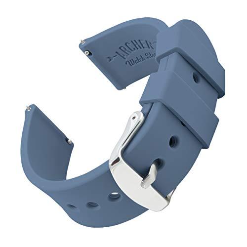 Archer Watch Straps - Uhrenarmbänder aus Silikon mit Schnellverschluss - Stahlblau, 18mm