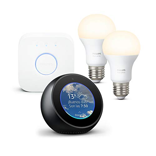 Amazon Echo Spot, negro + Philips Hue White Kit - Kit de 2 bombillas LED E27 y puente