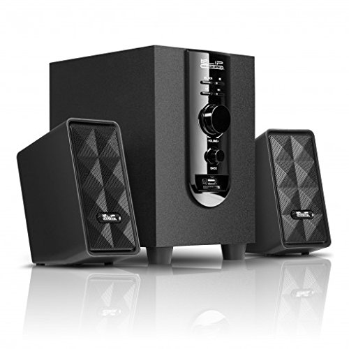 Klip Xtreme AcoustiXFusion III 2.1 Stereo Speakers with USB and SD Card Playback-Subwoofer with Bass & Media controls-40Watt Peak Power-20W RMS-3.5mm Connector-Great for Computer,Laptop,Media Center