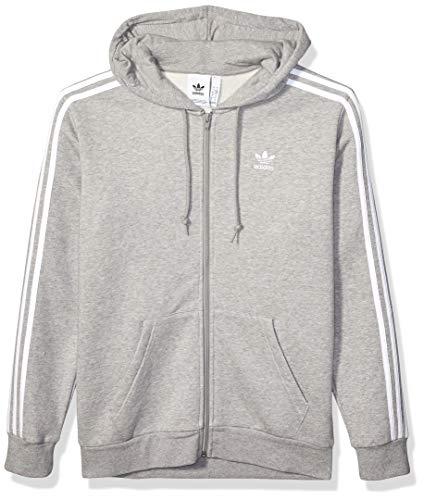 adidas Originals Herren 3-Stripes Full-Zip Sweatshirt Jacke, Medium Grau meliert, Large