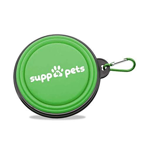 SUPP4PETS Ciotola Pieghevole per Cane, Portatile in Silicone con Moschettone da Viaggio. Per Cani e Gatti e animali domestici (colore Verde)