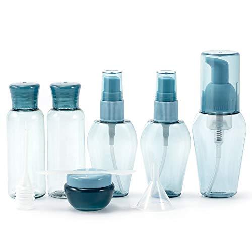 Bouteilles de Voyage ZKSM, Ensemble de 6 récipients vides pour cosmétiques avec Étiquette, Entonnoir, Paille pour Liquides, émulsion d'eau(Bleu, Transparent)