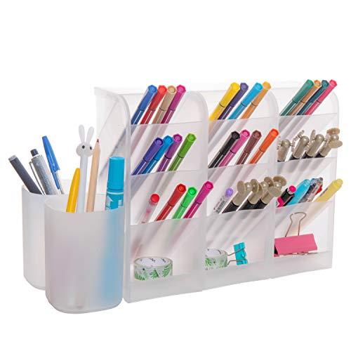 Vumdua Desk Organizer, 5 Pcs Pen Storage Holder for Makeup, Marker, Office, Home Supplies (White)