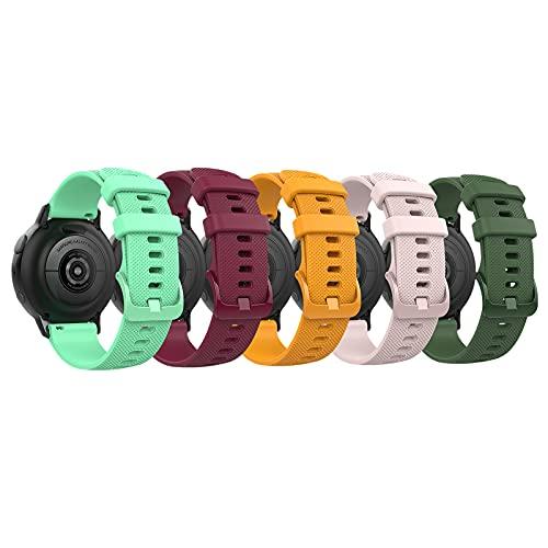 TiMOVO Correa Compatible con Samsung Galaxy Watch Active 2/Active/Galaxy Watch4/Galaxy Watch 3 41mm/Galaxy Watch 42mm, Banda Reemplazo Reloj Ajustable 5PZS Silicona Suave Textura Cuadros, Multicolor A