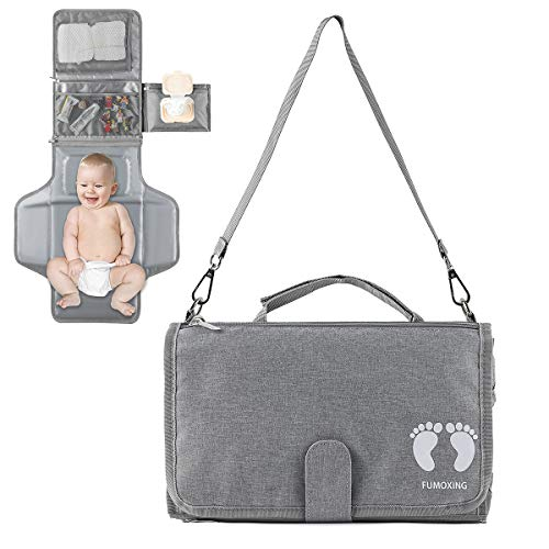 Portable Diaper Changing Pad with Built-in Head Cushion & Smart Wipes Pocket, Waterproof Travel Changing Table Pad with Big Pockets, Baby Changing Station for Newborn Boys and Girls (Grey)