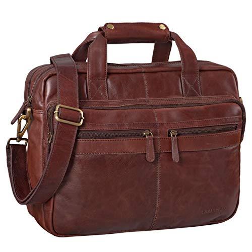 STILORD 'Explorer' Borsa da lavoro Porta documenti grande in pelle a tracolla per PC Uomo Donna stile vintage per insegnante ufficio, Colore:marrone - cioccolata