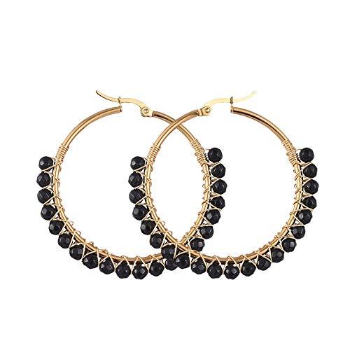 Ornaland Pendientes de aro de acero inoxidable chapado en oro, con perlas naturales de piedra de luna, pendientes hipoalergénicos, 50 mm Agata Nera