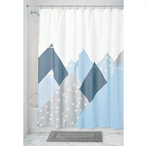 iDesign douchegordijn met stijlvol design, waterafstotend badgordijn van polyester, spatbescherming voor douche of badkuip, blauw