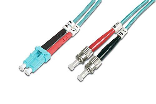 DIGITUS LWL Patch-Kabel OM3 - 3 m LC auf ST Glasfaser-Kabel - LSZH - Duplex Multimode 50/125µ - 10 GBit/s - Türkis