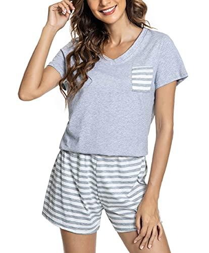 CMTOP Camisón Mujer Verano Pijama de Algodón Manga Corta con Cuello en V Ropa de Dormir de Camiseta con Pantalones Cortas Suave y Transpirable(Gris,XL)