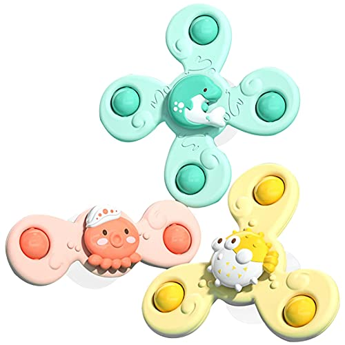 Greatideal 3 Unids Spinn Cup Spinner Juguete, Dibujos Animados Spinning Sucion Juguetes, Juguetes De Baby Bath Juguetes, Top Toy, Spin Spinning Juguetes De Baby Bath For Boys Girls