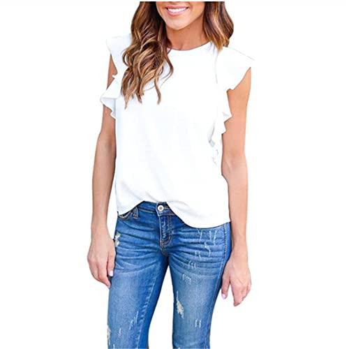 Tops Mujer Elegante Moda Verano Cuello Redondo Color Sólido Mujer Blusa Único Manga De Lotus Diseño Mujer T-Shirt Diaria Casual Fiesta All-Match Mujer Camisa A-White XL