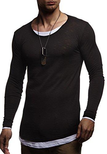 Leif Nelson LN8171 - Maglione da uomo con scollo rotondo, nero, a maniche lunghe, sottile, con cappuccio, a maniche lunghe, oversize Nero L