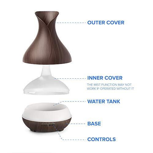 Everlasting Comfort Essential Oil Diffuser - 400 ml - Super High Aroma Output with Cleaning Kit - ETL Certified - Dark Wood