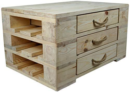 Woodpecker Holz Couchtisch mit 3 Schubladen- 67x47x37 cm in Naturfarbe- in Handarbeit hergestellt - Kommode aus Holz - vielfältige Verwendung, Stapelbar, erweiterbar und sehr robust