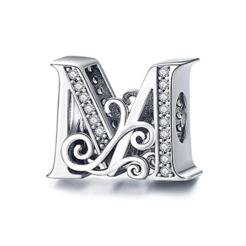 LIIHVYI Se Adapta A Pandora Original 925 Cuentas De Plata Esterlina Codemonkey Letra M Alfabeto Y Brazaletes DIY Accesorios Joyería Pulsera Encanto Regalo