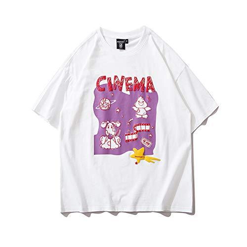 DREAMING-Sudadera De Manga Corta De Verano Camiseta De Algodón con Cuello Redondo Y Estampado Suelto Camisa De Pareja para Hombres Y Mujeres White X-Large