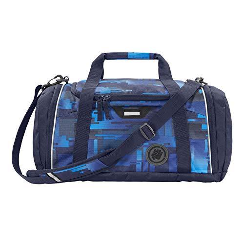 """Coocazoo Sporttasche SporterPorter """"Deep Matrix"""", blau, Nasswäschefach, Seitentasche, Schuhfach, Abnehmbarer, Verstellbarer Schultergurt, für Jungen ab der 5. Klasse, 20 Liter"""
