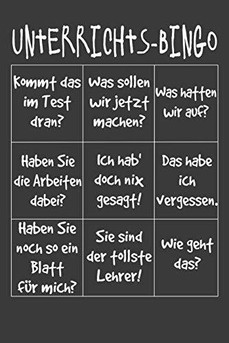 Unterrichts-Bingo: Liniertes DinA 5 Notizbuch für Lehrerinnen und Lehrer Notizheft für Pädagogen