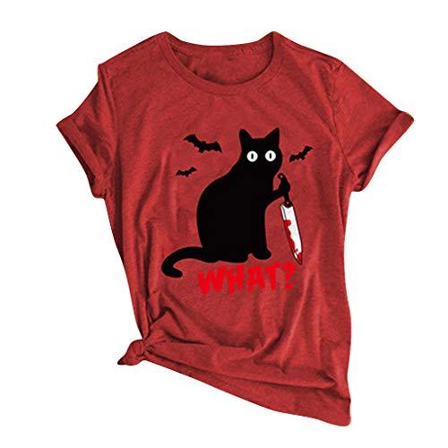 Blusa de mujer, de Halloween casual camiseta negra de la letra del gato con impresión divertida O-cuello superior blusa de la parte superior, venta de Halloween (vino-L)