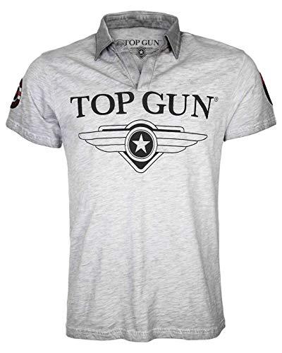 Top Gun Herren T-Shirt Star, Polo- Shirt für Männer mit offenem Kragen, Logo-Print und Patches (M, Grey-Melange)