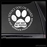 Service Dog Do Not Separate from Handler Decal Car Truck Window Will Stick to Most Smooth Surfaces Window Decal Vinyl Decal Die Cut Decals Funny Laptop Sticker kte029