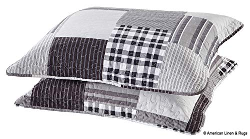 All American Collection Bedroom Modern Decorative Ultra Soft Pillow Shams Premium Quality Set of 2 (King/Cal King, Black/Grey Plaid Shams)