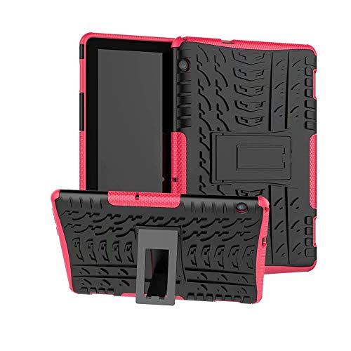 XITODA Funda Huawei MediaPad T5 10, Hybrid Rugged Armor Duro PC + TPU Silicone Back Case Cover Carcasa para Huawei MediaPad T5 10 2018 Tablet Funda con Kickstand - Rosa
